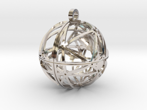 Craters of Rhea Pendant in Rhodium Plated Brass