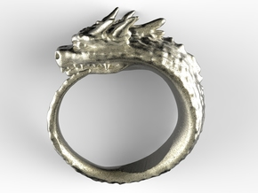 Spike Dragon's Ring in Polished Nickel Steel: 8 / 56.75