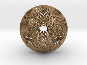 Dodecahedron vertex symmetry weave  in Raw Brass