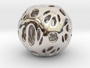 hydrangea ball 03 in Rhodium Plated Brass