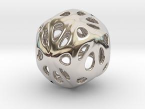 hydrangea ball 04 in Rhodium Plated Brass