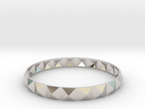Pyramid Beveled Bangle (Hollow) in Rhodium Plated Brass