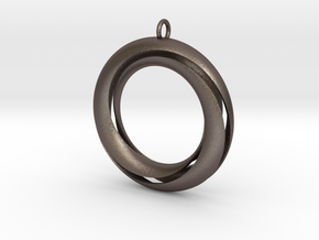 Mobius 3 Pendant in Polished Bronzed Silver Steel