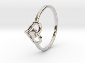 Heart Ring Size 8.5 in Rhodium Plated Brass