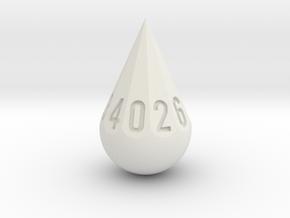 Teardrop Dice in White Natural Versatile Plastic: d10