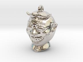 20 Mm Round Pendant in Rhodium Plated Brass