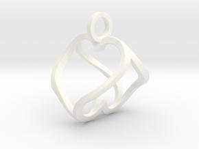 """Heart to Heart"" Pendant in White Processed Versatile Plastic"