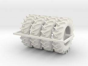 1/64 520/85R46 R2 X 4 tractor tires in White Natural Versatile Plastic