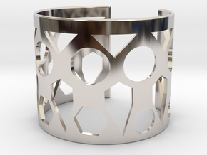 Cubic Bracelet Ø63 Mm Style A Medium/2.48 inch in Rhodium Plated Brass