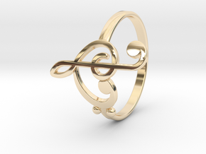 Size 10 Clefs Ring in 14k Gold Plated Brass