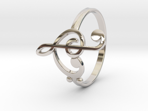 Size 10 Clefs Ring in Rhodium Plated Brass