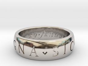 Size 6 Sir Francis Drake, Sic Parvis Magna Ring in Platinum