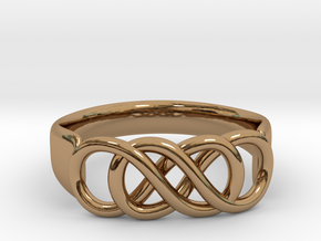 Double Infinity Ring 22.2mm V2 in Polished Brass