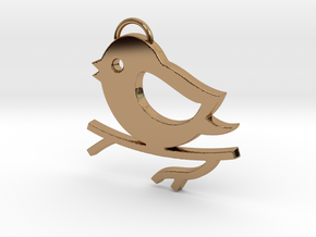 Bird on a Branch Pendant in Polished Brass