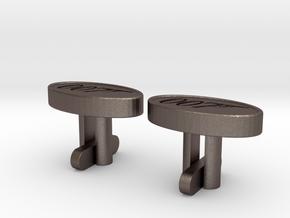 007 Cufflinks in Polished Bronzed Silver Steel