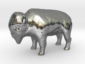 Miniature Bison in Fine Detail Polished Silver
