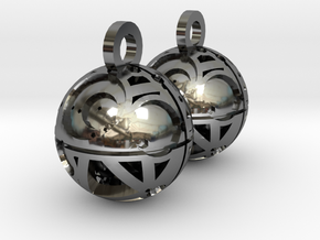 Craters of Iapetus Earrings in Fine Detail Polished Silver
