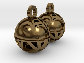 Craters of Iapetus Earrings in Polished Bronze