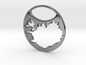 Key ring - Iceland in Fine Detail Polished Silver