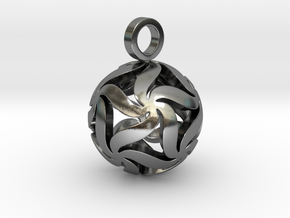 Star Ball Floral (Pendant Size) in Polished Silver