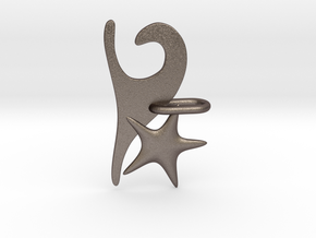Wave and Starfish in Polished Bronzed Silver Steel