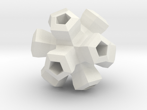 Cauliflower Polyhedron Pendant in White Natural Versatile Plastic
