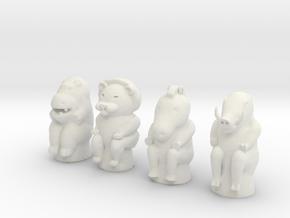 Animal Game Tokens in White Natural Versatile Plastic