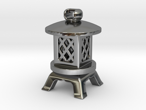 Japanese Stone Lantern A: Tritium (All Materials) in Fine Detail Polished Silver