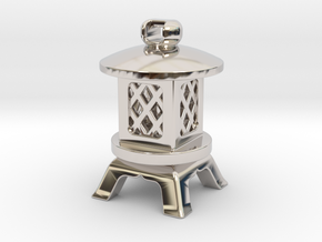 Japanese Stone Lantern A: Tritium (All Materials) in Rhodium Plated Brass