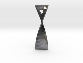 Twist 180 facetted pendant 5cm tall in Polished Grey Steel