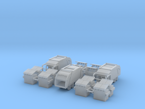 3 Garbage Trucks Z Scale in Smooth Fine Detail Plastic