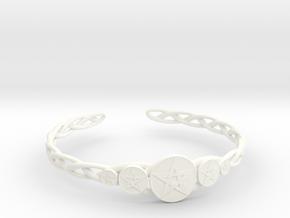 "Celtic Knot Pentacle Cuff Bracelet (3.0"" diameter) in White Processed Versatile Plastic"
