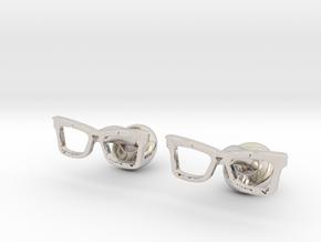 Hipster Glasses Cufflinks Origin in Rhodium Plated Brass