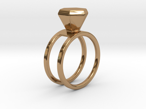 Diamond ring - Size 11 / 20.6 mm in Polished Brass