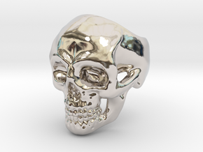 Skull Ring #9(US) in Rhodium Plated Brass