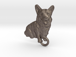 PEMBROKE WELSH CORGI KEYFOB. in Polished Bronzed Silver Steel