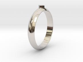 Ø18.19 Mm Design Special Arrow Ring/Ø0.716 inch in Rhodium Plated Brass