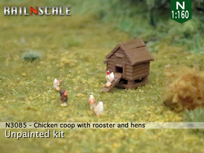 Chicken coop with rooster and hens (N 1:160) in Frosted Extreme Detail