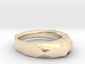 Decagon Faceted Ring 4.5 in 14k Gold Plated Brass
