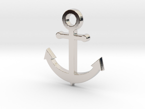 Anchor Pendant in Rhodium Plated Brass