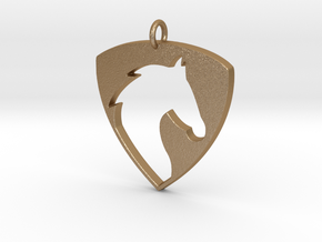 Horse Head V2 Pendant in Matte Gold Steel