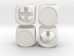 """Fudge One"" Dice Set (4dF) in White Strong & Flexible: Polyhedral Set"