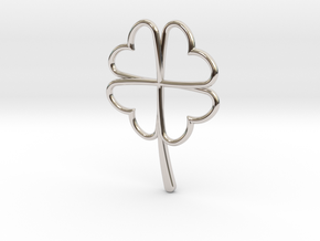 Wireframe Clover Pendant in Rhodium Plated Brass