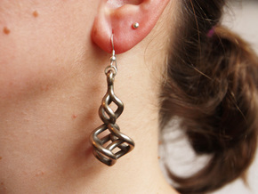TTS earring 2 in Polished Bronzed Silver Steel