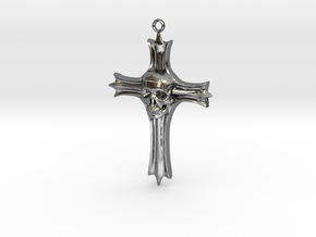 Skull Crucifix Pendant in Fine Detail Polished Silver