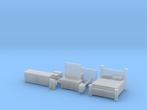 Bedroom set with King Bed N Scale in Smoothest Fine Detail Plastic
