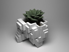 Busy Cubic planter in White Natural Versatile Plastic