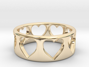 Heart ring (~size 8) in 14k Gold Plated Brass
