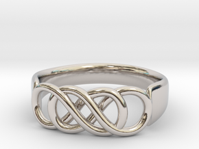Double Infinity Ring 14.1 mm Size 3 in Rhodium Plated Brass