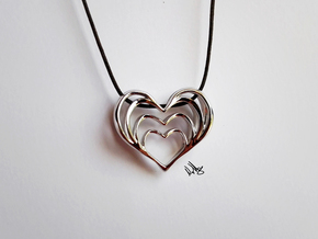 Growing Heart Pendant in Rhodium Plated Brass